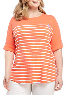 Plus Size Elbow Sleeve Pocket Front Tee