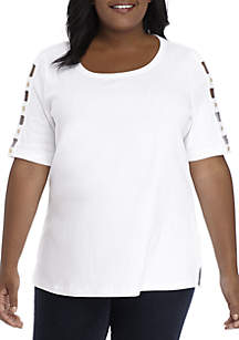 Plus Size Ladder Sleeve With Buttons Solid Top
