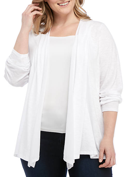 Kim Rogers® Plus Size Cardigan with Chiffon Inset