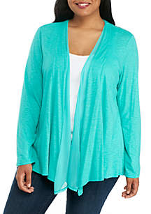 Plus Size Cardigan with Chiffon Inset
