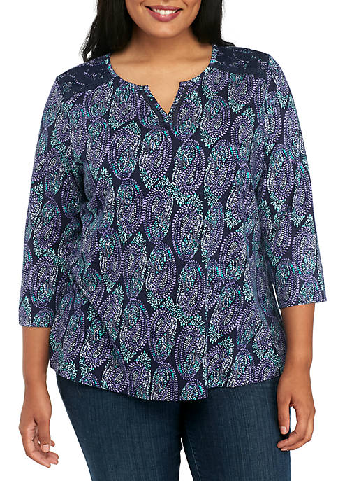 Kim Rogers® Plus Size Split Neck Lace Print