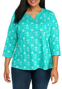 Plus Size Split Neck Lace Print Tee