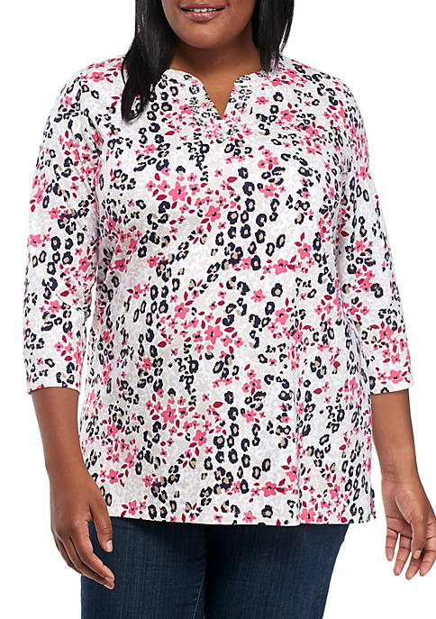 Kim Rogers® 3/4 Embroidered Split Neck Print Tee