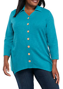 Plus Size Mix Button Front Top