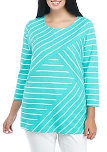 Plus Size Criss-Cross Stripe Top