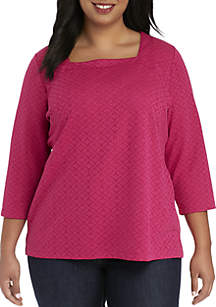 Plus Size 3/4 Sleeve Square Neck Textured Top