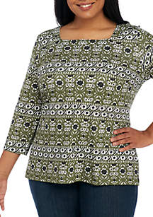 Plus Size Three-Quarter Sleeve Square Neck Print Top