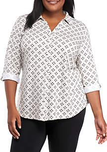 Plus Size Knit Button Down Printed Top