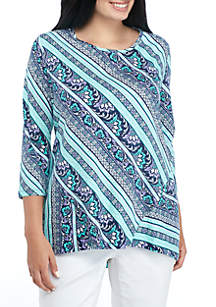 Plus Size Three-Quarter Paneled Printed Tunic