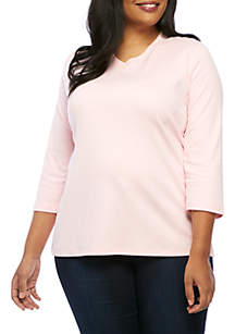 Plus Size Three-Quarter Sleeve V-Neck Solid Top