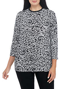 Plus Size Three-Quarter Sleeve Safari Scroll Print Top