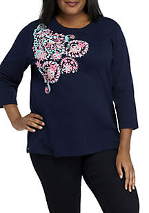 Plus Size Three-Quarter Sleeve Pine Folk Tee