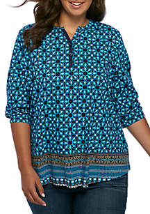 Plus Size Three-Quarter Sleeve Henley Print Top