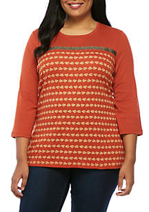 Plus Size 3/4 Sleeve Crew Neck Leaf Print Top
