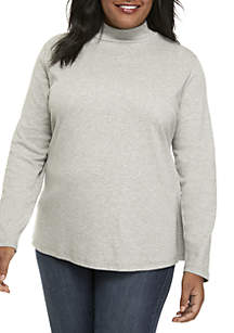 Plus Size Long Sleeve Mock Neck Top