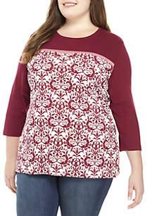 Plus Size 3/4 Sleeve Brocade Print Top