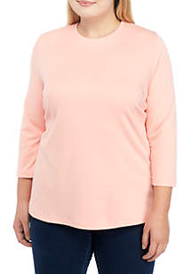 Plus Size 3/4 Sleeve Solid Top
