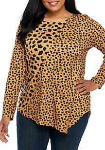 Plus Size 3/4 Sleeve Asymmetric Animal Print Top