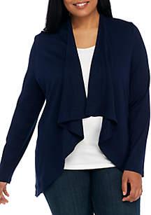 Plus Size Long Sleeve Drape Solid Cardigan