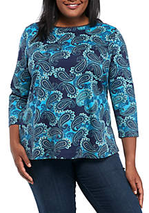 Plus Size 3/4 Sleeve Rope Neck Paisley Top
