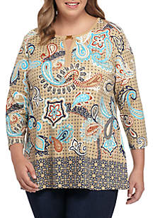 Plus Size Three-Quarter Bar Neck Border Printed Tee
