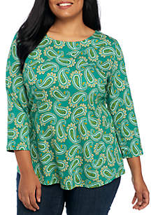 Plus Size Three-Quarter Cross Yoke Paisley Print Top