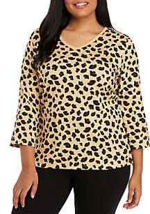 Plus Size 3/4 Sleeve Animal Print Top