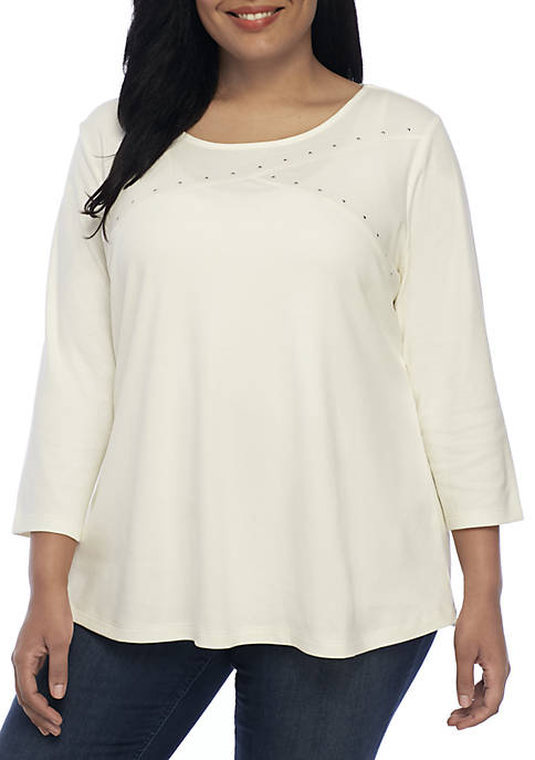 Kim Rogers® Plus Size Three-Quarter Sleeve Crossneck Top