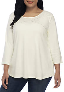 Plus Size Three-Quarter Sleeve Crossneck Top