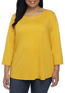 Plus Size Three-Quarter Sleeve Crossneck Top