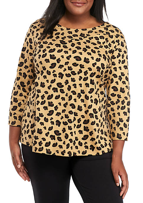 Kim Rogers® Three-Quarter Sleeve Cross Animal Print Top