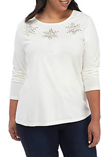 Plus Size Long Sleeve Embellished Top