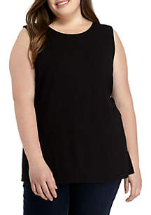 Plus Size Seamed Solid Shell Tank