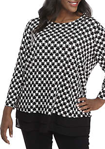 Plus Size 3/4 Sleeve Houndstooth Print Top