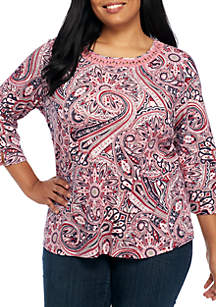 Plus Size 3/4 Paisley Print Top