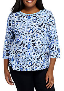 Plus Size Three-Quarter Sleeve Detailed Top