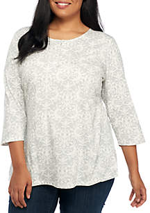 Plus Size Henley Printed Top