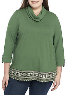 Plus Size 3/4 Sleeve Cowl Neck 2Fer