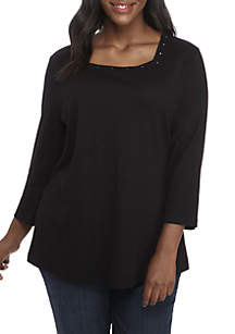 Plus Size 3/4 Sleeve Embellished Square Neck Top