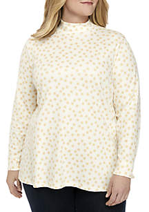 Plus Size Long Sleeve Dot Print Top