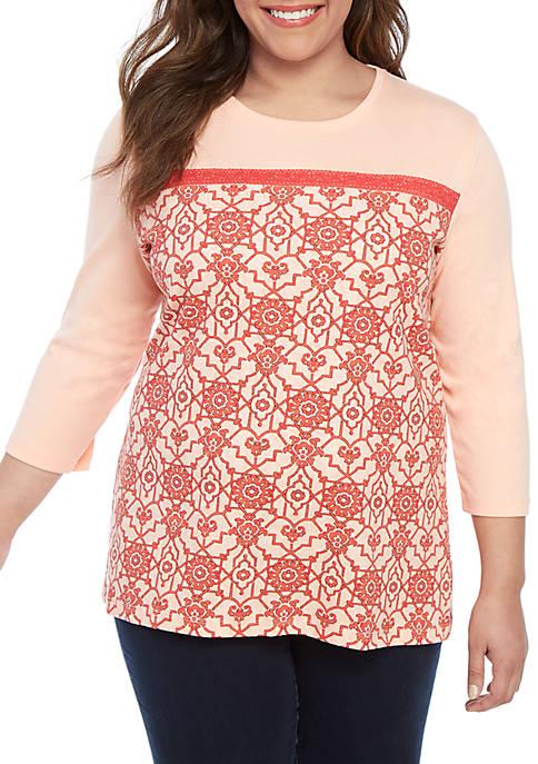 Plus Size Color Block Lace Printed Top