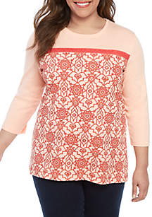 Kim Rogers® Plus Size Color Block Lace Printed Top