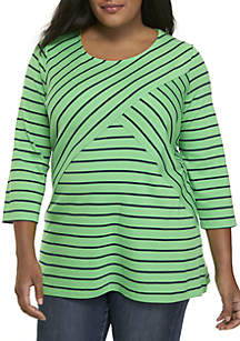 Plus Size Striped 3/4 Sleeve Top