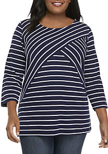 Kim Rogers® Plus Size Striped 3/4 Sleeve Top