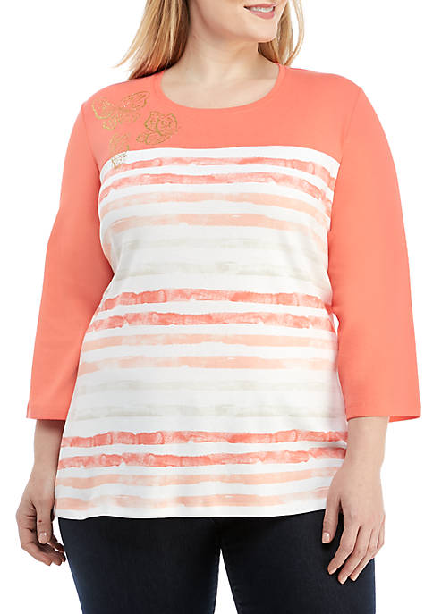 Kim Rogers® Plus Size 3/4 Sleeve Butterfly Top