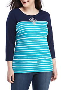 Kim Rogers® Plus Size 3/4 Sleeve Stripe T Shirt
