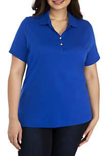 Kim Rogers® Plus Size Short Sleeve Polo Top