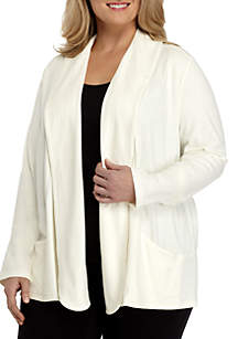 Plus Size Long Sleeve Pocket Cardigan