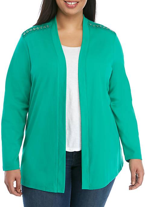 Kim Rogers® Plus Size Long Sleeve Cardigan