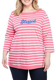 Kim Rogers® Plus Size Stripe Graphic Top